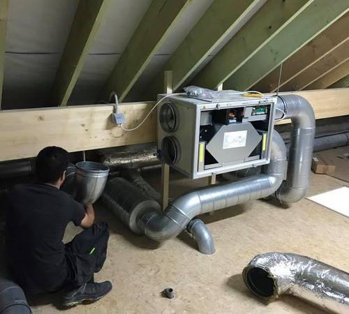 Ernonheid (Liège) - Installation d'un système de ventilation Lemmens HR mural 450